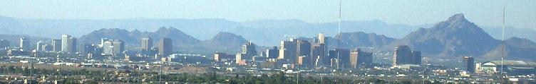Phoenix Arizona skyline looking north from South Mountain